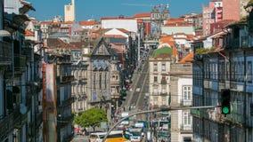 View of the Almeida Garret Square with the Sao Bento railway station and Congregados Church timelapse. View of the Almeida Garret Square with the Sao Bento stock video