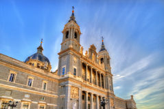 View of the Almudena Cathedral in Madrid, Spain Stock Photography