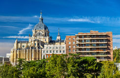 View of the Almudena Cathedral in Madrid, Spain Stock Image