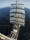View from aloft on a squarerigger or traditional sailing vessel Stock Photography