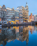 View along the Amsterdam Canals at twilight Royalty Free Stock Image