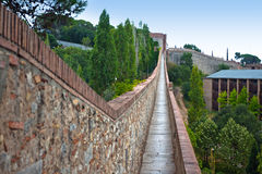 View along the ancient city wall of Girona Royalty Free Stock Image
