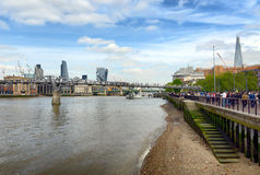 View along a bank of the River Thames, London royalty free stock photos