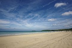 A View Along the Beach at Gwithian Beach. A View Along the Beautiful Beach at Gwithian royalty free stock images