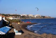 View along the beach, Mijas Costa. Royalty Free Stock Photo