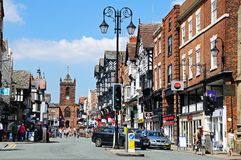 View along Bridge Street, Chester. Royalty Free Stock Photo