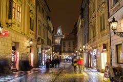 View along Celetna Street in Prague at Night Royalty Free Stock Photos