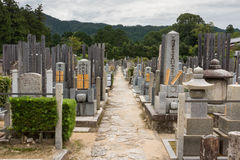 View along central alley on Buddhist cemetery. Royalty Free Stock Photography