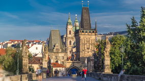 A view along Charles Bridge in Prague towards the Lesser Quarter in the morning timelapse. stock video footage
