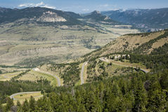 View along Chief Joseph Scenic Byway. View of the mountains and valleys from Dead Indian Pass along the Chief Joseph Scenic Byway in Wyoming Royalty Free Stock Photos