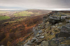 View along Curbar towards Baslow's Edge in Peak District Royalty Free Stock Photos