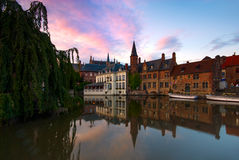 View along De Rozenhoedkaai, or The Quai of the Rosary, in Bruges, Belgium Royalty Free Stock Images