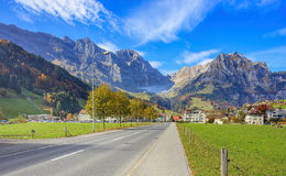 View along the Engelbergstrasse street in Engelberg Stock Photography