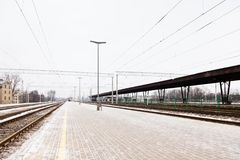 Riga Central Station in Latvia. The view along a frosty platform at Riga Central Station, Latvia Stock Photos