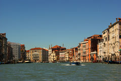 View along the Grand Canal in Venice Venezia Italy royalty free stock image