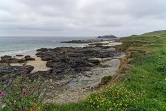 A view along the Gwithian Coastline. A beach along the coast at Gwithian stock image
