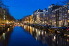 View along the Keizersgracht canal in Amsterdam Stock Images