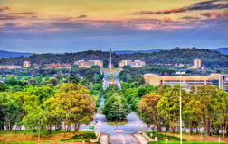 View along Kings Avenue towards the Australian-American Memorial in Canberra, Australia Royalty Free Stock Photography