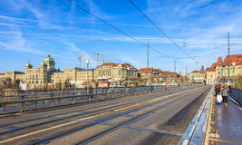 View along the Kirchenfeld bridge in Bern, Switzerland Royalty Free Stock Photography
