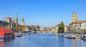 View along the Limmat river in Zurich Royalty Free Stock Photography