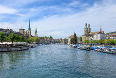 View along the Limmat river in Zurich, Switzerland Royalty Free Stock Photography