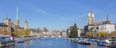 View along the Limmat river in Zurich Royalty Free Stock Image