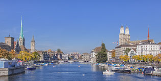 View along the Limmat river in Zurich, Switzerland Royalty Free Stock Photo