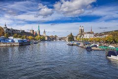 View along the Limmat river in Zurich, Switzerland Stock Images
