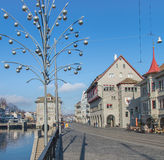 View along the Limmatquai quay in Zurich Stock Photo