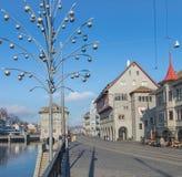 View along the Limmatquai quay in Zurich Stock Photo