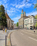 View along the Limmatquai quay in Zurich, Switzerland Royalty Free Stock Image
