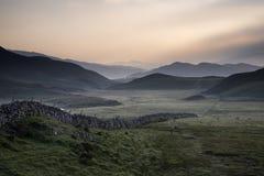 View Along Misty Valley Towards Snowdonia Mountains Stock Photos
