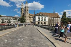 View along Munsterbrucke bridge in the city of Zurich. Zurich, Switzerland - 30 July, 2015: view along Munsterbrucke bridge in the city of Zurich. Munsterbrucke Stock Photography