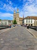 View along Munsterbrucke bridge in Zurich, Switzerland Royalty Free Stock Image