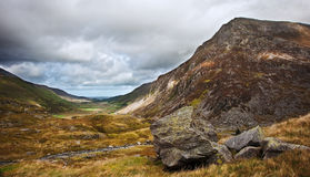 View along Nant Francon valley Snowdonia landscape Stock Images
