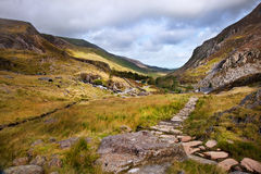 View along Nant Francon valley Snowdonia landscape Stock Photos