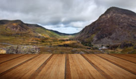 View along Nant Francon valley Snowdonia National Park landscape Royalty Free Stock Image