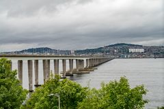 Tay Rail Bridge. A view along the railway line the crosses from Fife to Dundee Royalty Free Stock Image