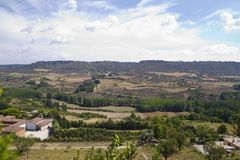 View along the river Tajo, with fields. Spain Royalty Free Stock Photography