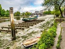 View along the River Thames to Kew Bridge London stock photos