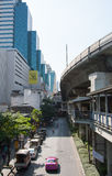 View Along the Road. Road and BTS Skytrain Track, Bangkok, Thailand Stock Photography