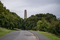 View of obelisk of Wellington monument in Phoenix Park, Dublin, Ireland. View along road past trees of the top of the obelisk on the famous Wellington Monument stock photos