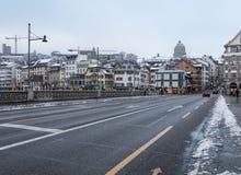 View along the Rudolf Brun bridge in Zurich, Switzerland Stock Photo