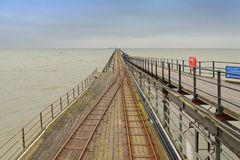 Southend Pier, essex, pier railway. View along southend Pier, Essex on a freezing cold day england, uk Royalty Free Stock Photo