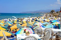 View along Stalida beach. stock image