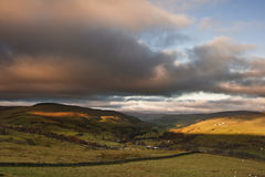 View along Swaledale valley towards Gunnerside in Yorkshire Dale Royalty Free Stock Images