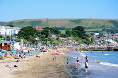 View along Swanage beach. Royalty Free Stock Photos