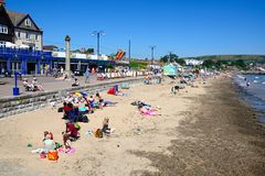View along Swanage beach and promenade. Royalty Free Stock Image