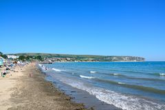 View along Swanage beach. Stock Photography