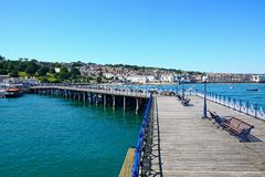 View along Swanage pier. Royalty Free Stock Images